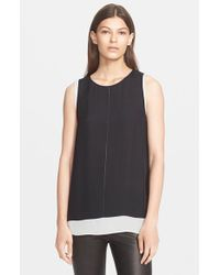 VINCE | Black Cross Stitch Double Layer Tank | Lyst