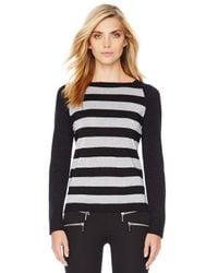 Michael Kors | Black Michael Shimmery Striped Sweater | Lyst