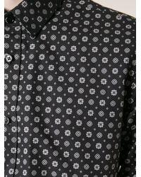 Saint Laurent - Black Floral Print Shirt for Men - Lyst
