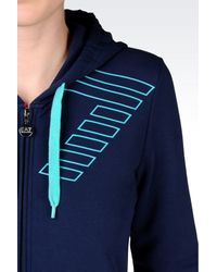 EA7 | Blue 7colours Line Full Zip Hooded Sweatshirt | Lyst