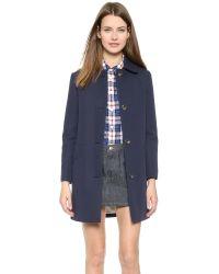 A.P.C. - Blue Pique Overcoat - Navy - Lyst