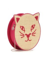 Charlotte Olympia Pink Pussycat Raffia And Leather Shoulder Bag
