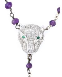 Katerina Psoma | Pink Beaded Panther Necklace | Lyst