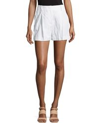 Michael Kors - White Crushed Pleated Shorts - Lyst