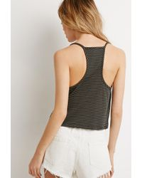 Forever 21 | Green Striped Halter Crop Top | Lyst