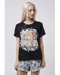 TOPSHOP   Black Bambi Pyjama Set   Lyst