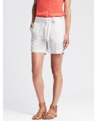 Banana Republic | White Belted Wide-leg Short | Lyst