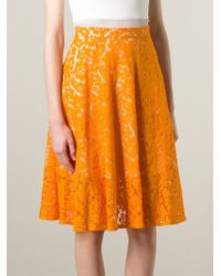 MSGM - Yellow Lace Pleated Skirt - Lyst