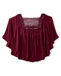 Aéropostale | Red Solid Peasant Poncho Top | Lyst