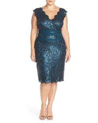 Tadashi Shoji | Blue Sequin Lace Sheath Dress | Lyst