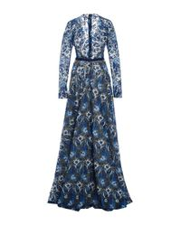 Naeem Khan Blue Floral Embroidered Deep V-neck Gown