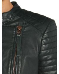 Label Lab | Green Leather Biker Jacket | Lyst