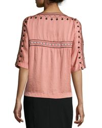 Nanette Lepore - Pink Short-sleeve Embroidered Blouse W/ Cold Shoulder - Lyst