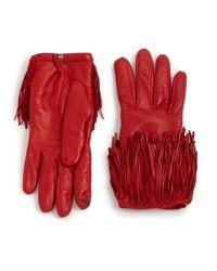 Diane von Furstenberg - Red Fringed Leather Gloves - Lyst