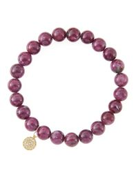 Sydney Evan | Red 8mm Natural Ruby Beaded Bracelet With 14k Yellow Gold/diamond Small Disc Charm (made To Order) | Lyst
