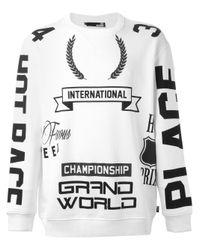 Love Moschino   White Racing Symbols Print Sweatshirt for Men   Lyst