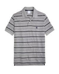 Brooks Brothers | Gray Slim Fit Undercollar Detail Stripe Polo Shirt for Men | Lyst