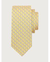 Ferragamo Corbata de seda estampado cebra - Amarillo