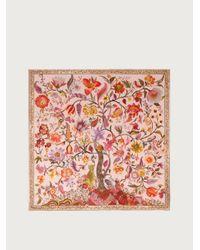 Ferragamo Tree Of Life Print Silk Scarf - Pink