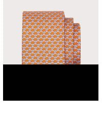 Ferragamo Seidenkrawatte mit fisch-print - Orange