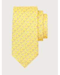 Ferragamo Corbata de seda estampado colibrí - Amarillo