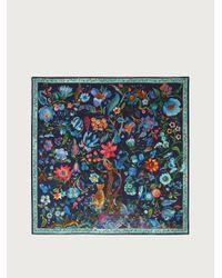 Ferragamo Tree Of Life Print Silk Scarf - Blue