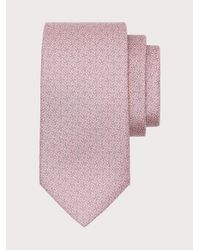 Ferragamo Corbata de seda con estampado Gancini - Rosa