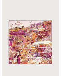 Ferragamo Illustrated Silk Square Scarf - Purple