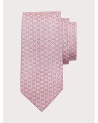 Ferragamo Corbata de seda estampado Gancini - Rosa