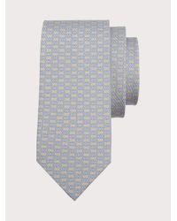 Ferragamo Corbata de seda estampado Gancini - Neutro
