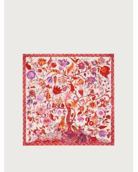 Ferragamo Seidentuch mit Lebensbaum-Print - Rot