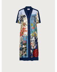 Ferragamo Robe avec incrustation en soie - Bleu