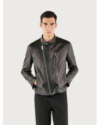 Ferragamo Nappa Biker Jacket - Black