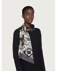 Ferragamo Bandeau de seda estampado jaguar - Neutro