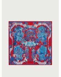 Ferragamo Pañuelo de seda estampado Rinascimento - Rojo