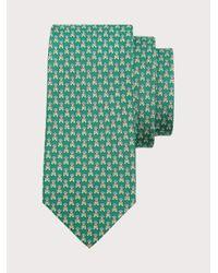 Ferragamo Corbata de seda estampado doble - Verde
