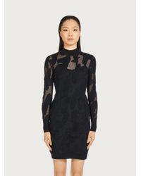 Ferragamo Dress With Inlay - Black