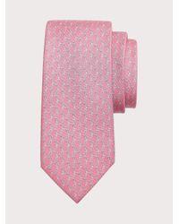 Ferragamo Corbata de seda estampado Foca - Rosa