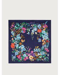 Ferragamo Foulard in seta stampa Gancini floreale - Blu