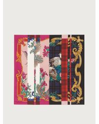 Ferragamo Fular de seda patchwork - Multicolor