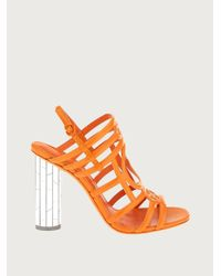 Ferragamo Streifensandale mit spiegelabsatz - Orange