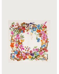 Ferragamo Floral Gancini Print Silk Scarf - Multicolour