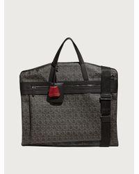 Ferragamo Travel Gancini Print Garment Bag - Grey