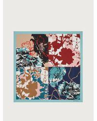 Ferragamo Fular de seda con estampado floral - Azul
