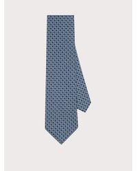 Ferragamo Corbata estampado Gancini - Azul