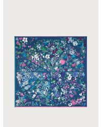 Ferragamo Blue Seasons Printed Silk Shawl