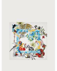 Ferragamo Seidenschal mit Collage-Print - Weiß