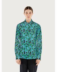 Ferragamo Chemisier imprimé camouflage - Bleu