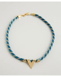 A.V. Max - Green Teal And Gold Twist 'V' Charm Necklace - Lyst