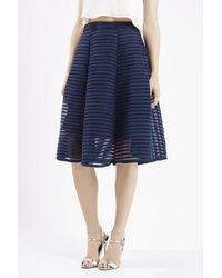 TOPSHOP Blue Textured Midi Skirt By Tfnc